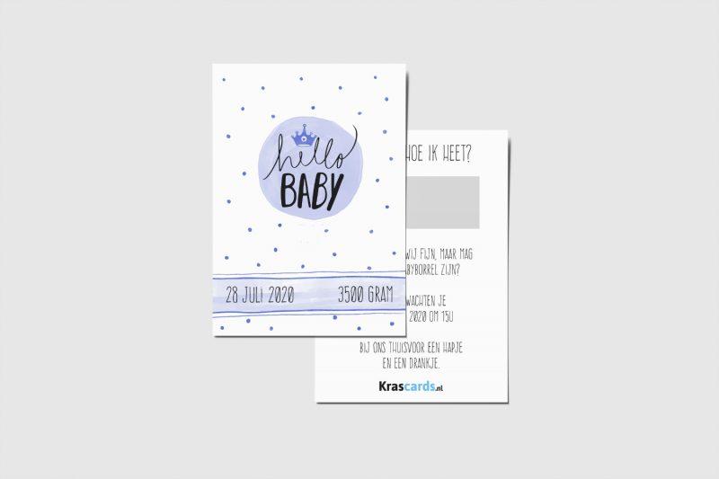 Krascards.nl - Iets (unieks) vertellen? Dat doe je met een Persoonlijke Hello Baby Blue kraskaart.