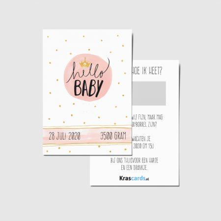 Krascards.nl - Iets (unieks) vertellen? Dat doe je met een Persoonlijke Hello Baby Pink kraskaart.