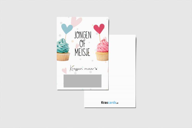 Krascards.nl - Iets (unieks) vertellen? Dat doe je met een Jongen Of Meisje Cupcake kraskaart.