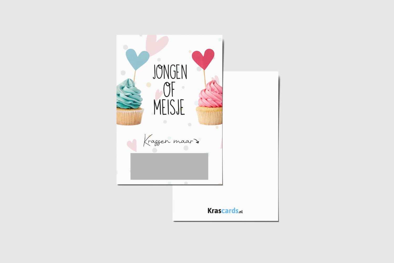 Krascards.nl - Iets (unieks) vertellen? Dat doe je met een Cupcake geboorte kraskaart.