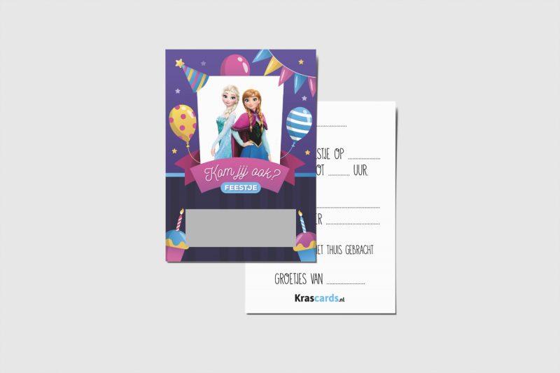 Krascards.nl - Iets (unieks) vertellen? Dat doe je met een Uitnodiging Frozen kraskaart.