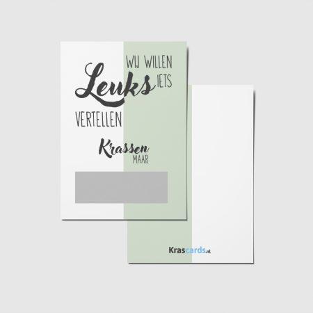 Krascards.nl - Iets (unieks) vertellen? Dat doe je met een Half Groen kraskaart.
