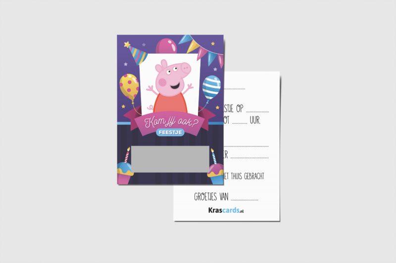 Krascards.nl - Iets (unieks) vertellen? Dat doe je met een Uitnodiging Peppa Pig kraskaart.