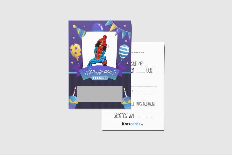 Krascards.nl - Iets (unieks) vertellen? Dat doe je met een Uitnodiging Spiderman kraskaart.